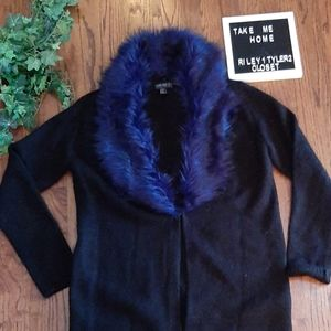 FOREVER 21 Chic purply blue furry sweater coat